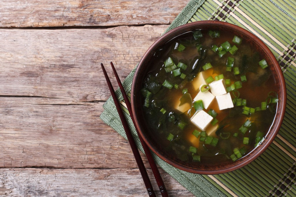 35951496 - japanese miso soup with tofu on the table. top view of a horizontal