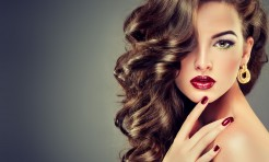 36765147 - beautiful model brunette with long curled hair