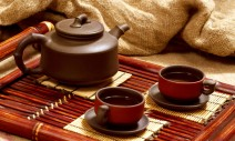 17346805 - still life with two chinese teacups and teapot