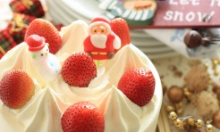 18350216 - home bakery christmas cake with strawberry on top