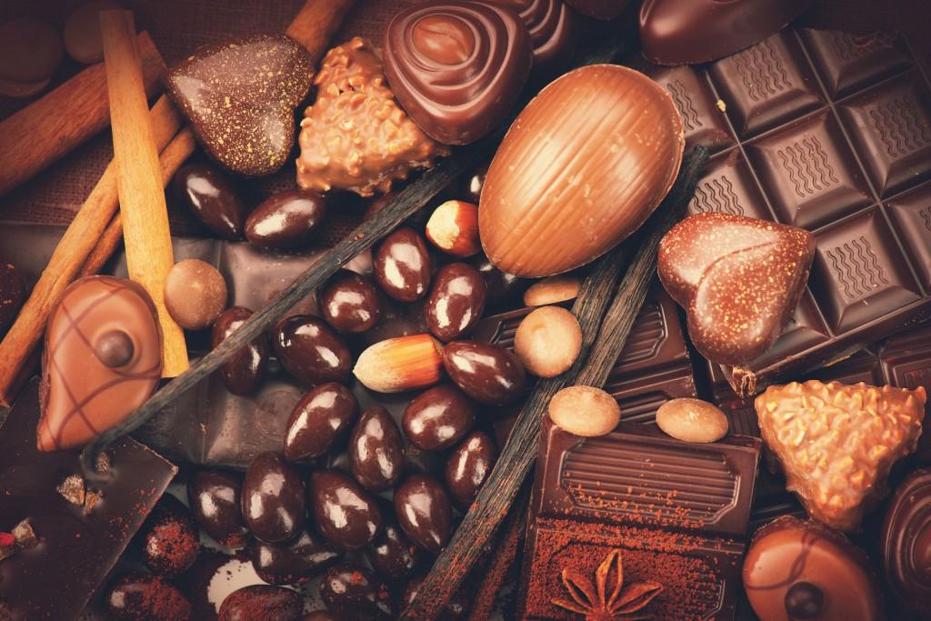 46445749 - luxury chocolates background. praline chocolate sweets