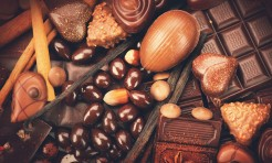 46445749 - luxury chocolates background. praline chocolate sweets