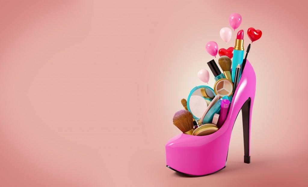 26044487 - cosmetics set into a woman's shoe. fashion illustration