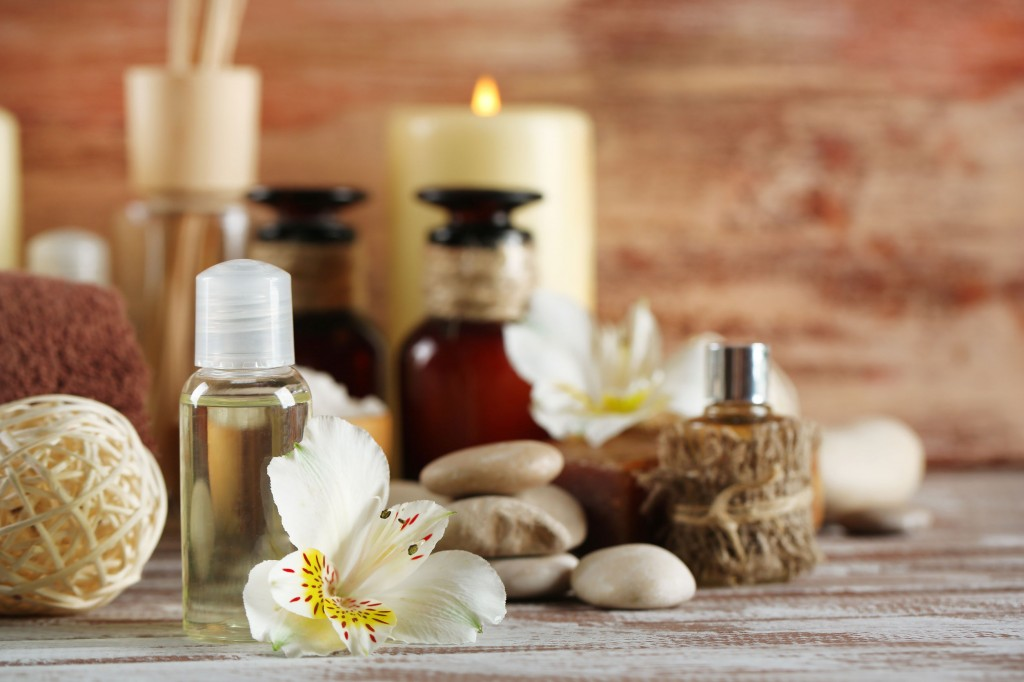 37364601 - composition of spa treatment on wooden background