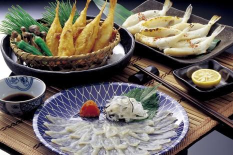46848475 - the dried blowfish sashimi and fugu fried and fugu overnight