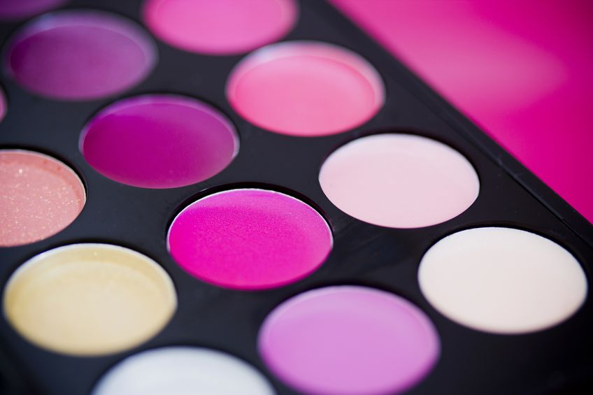 17113006 - macro shot of a colorful palette of cosmetics