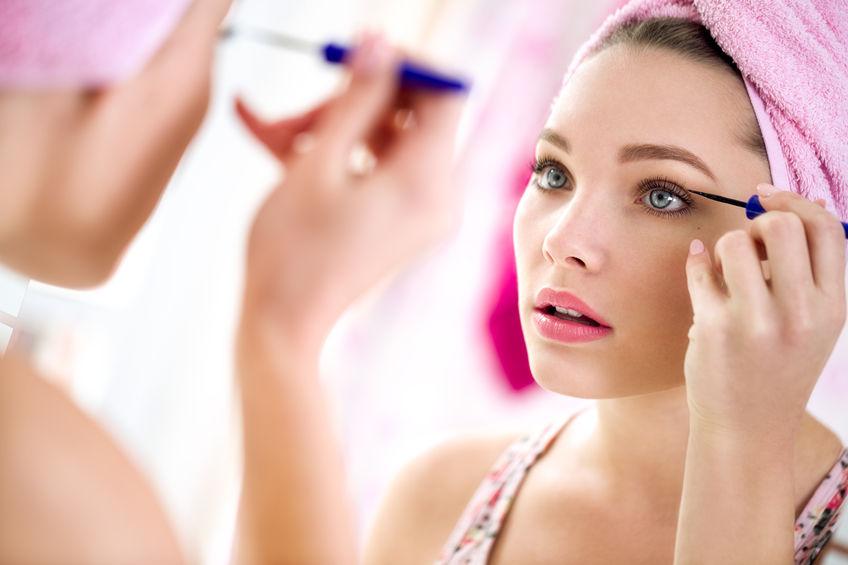 34939104 - nice beautiful girl make up  front mirror