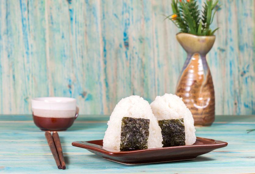 48787710 - rice ball,onigiri ,rice mixing with seaweed.