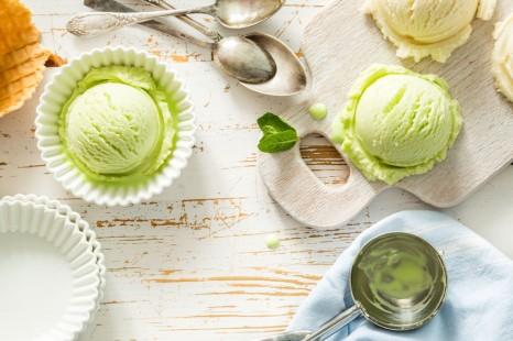 54514687 - pistacio and vanilla ice cream, copy space