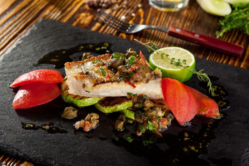 58407881 - grilled fish fillet with vegetables