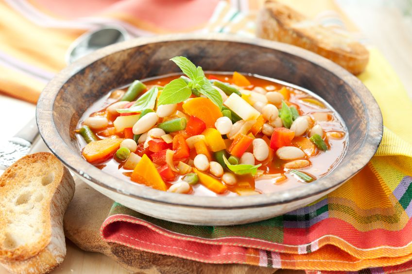 10135740 - bowl of minestrone soup with bread