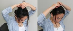毛束を左右に分けて、右の毛は左後ろに向けて、左の毛は右後ろに向けて、クロスさせるように後ろにまとめると立体感が出しやすくなります。毛先を留める際に飾りピンを使うと華やかな印象に。