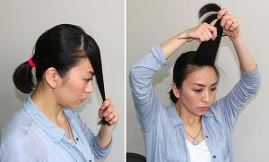 中心の生え際から5センチ位の深さで三角形に毛束を取ります。残りの毛は後ろで一束にします。