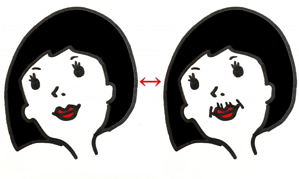 顔に数本のシワを描き足してみると、一気に老け顔に!