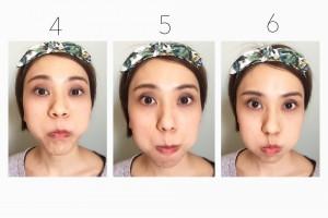 4)空気を唇よりも上のライン、鼻の下エリアへ。 5)次は唇よりも下へ。かなり辛くなってきますが、空気が漏れないように頑張りましょう。 6)最初のように、全体に空気をためて(空気が減っていたら鼻から吸って足します。)最後の10秒キープ。