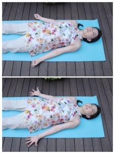 仰向けで脱力します。手をグッパグッパと30回。これだけで、身体の末端部分の巡りを促進します