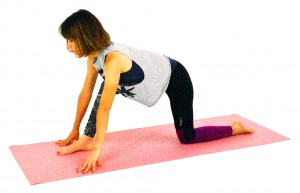 四つん這いの姿勢から、右足を大きく一歩前に出します。この時、かかとがひざよりも前に出るように調整してください。両指先を床に付けたら、あごは軽く引き、お腹を腰に引き寄せ背骨を伸ばします。