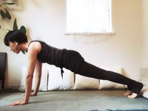 四つん這いから脚を大きく後ろに引き、腕立て(プランク)の姿勢になります。