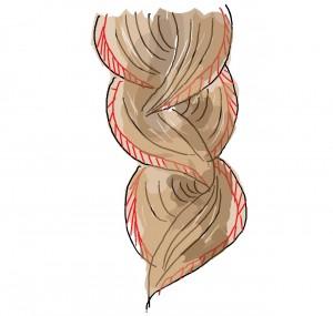 三つ編みをしたあとに、外側の毛束(大体5ミリ幅)を、指で引っ張って引き出すのが「レース三つ編み」です
