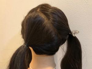 頭頂部、後ろの毛を写真のように斜めに分けます
