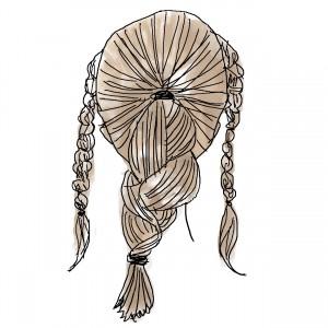 耳から前は左右で三つ編みをつくり、耳から後ろは一つ結びにした後に三つ編みします