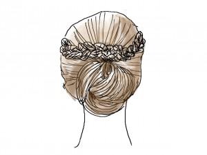 耳より前の三つ編み2つを交差させ、後ろのお団子のところでとめたら完成です