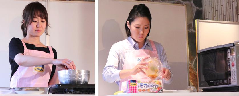 写真左は、料理家アシスタントの女性が通常の工程で調理する様子、右は主婦の女性が調理バッグを使う様子。