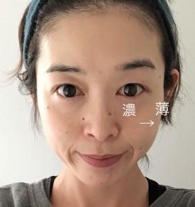顔の中心にファンデーションを多めにつけます。外側にいくにしたがって薄めにつけてあげると、グラデーション効果で小顔に見せることができます