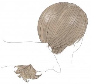 髪の毛を一つ結びにします。ゴムで結ぶ時は、緩まないように根本付近でしっかり結んであげることが大切です