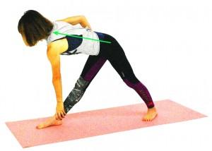 左手を右すね、ひざなどに添えます。右手を腰につけたまま、右肩を後ろに回しながら、おへそ、胸を右側へと回旋させます。 右足の付け根は、右手で後ろに押し出すようにしながら、右脇腹を長く伸ばします