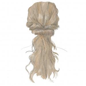 二つに分けた髪の毛のうち上の髪の毛を一つ結びにし、結んだ毛の下から左手の二本指を出して毛先を上から中に入れ込みます