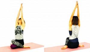 両手は天井方向に伸ばし、足を前に伸ばした長座の姿勢から、右足を左足の外側に置いて左ひざを曲げて床につけます。ひざとひざが重なる人は、足の甲を床につけてつま先を伸ばし足首を痛めないように座りましょう