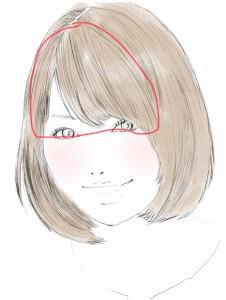 赤い線部分を参考にスタイリングをするとバランス良くつくれますので、参考にしてみてください