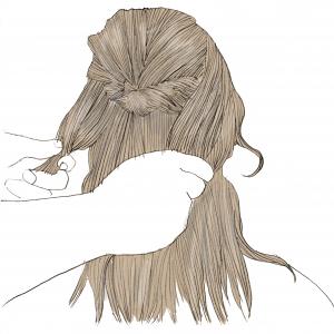 残しておいた、両方の横の髪の毛を結びます。この時に、(2)でつくったくるりんぱの下で結ぶことがポイントです
