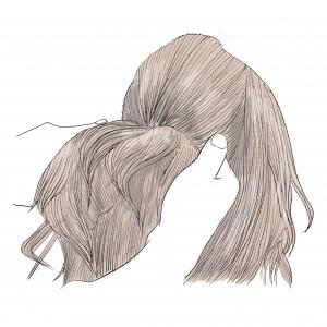 後ろの頭頂部を結びます。横の髪の毛は残したままで、後ろの頭頂部をハーフアップするように結んであげます。頭が絶壁の方でもシルエットが良く見えますよ