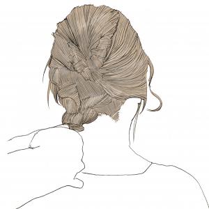 残っている毛先を三つ編みにして結びます。三つ編みにした後も、細かく毛束を引き出して、ほぐしてあげることがポイントです