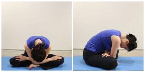 息を吐きながら背中を丸くして、両手はそのまま重ねた状態で両足に起き、身体の重みで30秒キープします。上半身を起こし、足を組み替えて反対側も同様に行いましょう