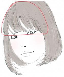 ふんわりさせたい時は、画像(赤い線部分)のようにつむじ近くまで深めにとってスタイリングしてあげましょう