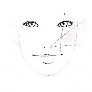 チークが入る範囲は、画像のように「小鼻と耳上の線と、小鼻と耳下の線が交わる場所の範囲」が基本になります