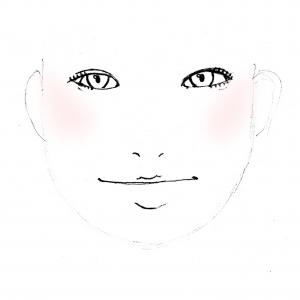 丸顔の方は、チークを横に入れると、さらに丸くみえてしまいます。基本の入れ方でするか、もしくは、画像のように斜め上に入れるようにすると、たて長効果ですっきりみえますよ