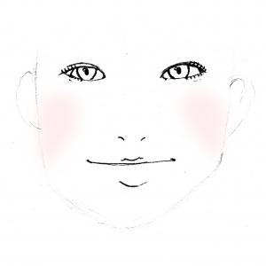 スタートする場所は、基本のチークと同じ黒目中心の延長線上からですが、画像のようにエラに向かって斜め下方向に入れることで、頬のたるみが改善されてエラが目立ちにくくなります
