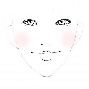 あごが出ている方のチークの入れ方は、面長の方と同じで、横にチークを入れます。ただし、面長の方と違って大き目にチークを入れると、顔が大きく見えてしまいますので、チークブラシ幅くらいか、それよりも少し狭めの大きさにしましょう