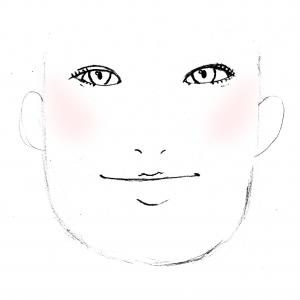 しもぶくれの方は、横にチークを入れてしまうと逆に顔が大きく見えてしまいます。顔をすっきり見せるには、丸顔の入れ方と同じで、斜め上にいれてあげるとたて長効果がでます