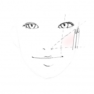 チークの終わりは、画像のように「耳から指2本分くらい隙間をあけたところ」までにすると、バランス良く見えますよ