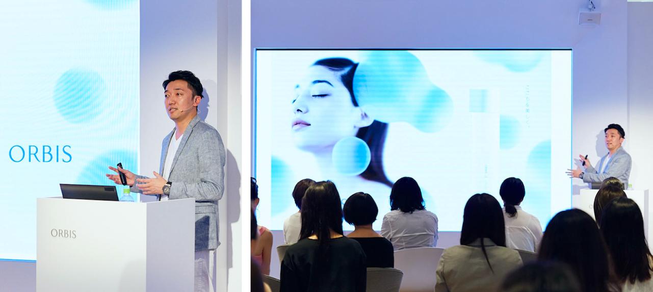 写真左)新オルビスユーのコンセプトについて語る小林琢磨社長 写真右)多くのメディア関係者が注目の発表に、熱心に耳を傾けていました