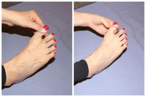 足の爪の付け根と両わきを、痛気持ちいいくらいの加減でもみます。各指を10回程度行いましょう