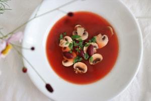 トマトジュース+マッシュルーム+サラダビーンズ
