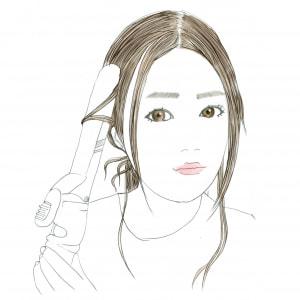 白髪隠しのために出している残り毛を、コテで巻いて仕上げます。残り毛がそのままだと、だらしない感じや老けたイメージになるので、必ず巻きましょう。