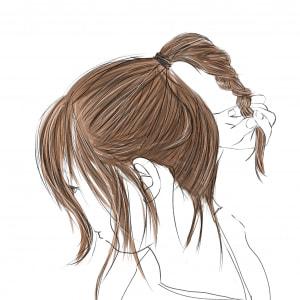 ポニーテールをつくります。ポニーテールは、小鼻と耳の上の延長線上の位置(ゴールデンポイント)にしましょう。この時、抜け感を出すために、残り毛を顔まわりや耳周り、うなじ付近に出してあげます