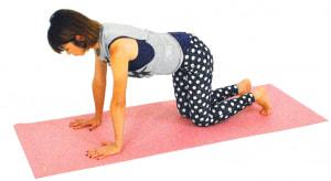 手首の真上に肩、腰の真下にひざがくるように四つん這いになります。ドローイング(お腹を腰に引き寄せる)をして、体幹を安定させましょう